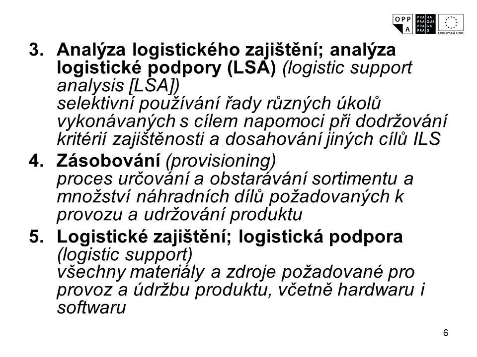 Analýza logistického zajištění; analýza logistické podpory (LSA) (logistic support analysis [LSA]) selektivní používání řady různých úkolů vykonávaných s cílem napomoci při dodržování kritérií zajištěnosti a dosahování jiných cílů ILS